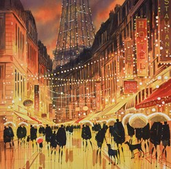 Paris Lights by Peter J Rodgers - Original Painting on Paper sized 20x19 inches. Available from Whitewall Galleries